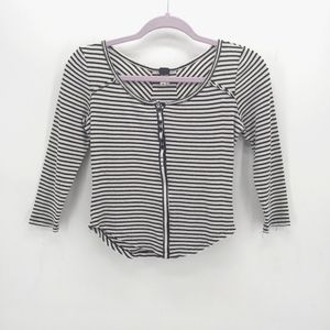 We the Free Large Stars Striped Ribbed Henley Top